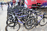 EF Education First Cannondale bikes lined up outside the team bus before Stage 1 of the 2019 Giro d'Italia, an individual time trial running 8km from Bologna to the Sanctuary of San Luca, Bologna, Italy. 11th May 2019.<br /> Picture: Eoin Clarke | Cyclefile<br /> <br /> All photos usage must carry mandatory copyright credit (© Cyclefile | Eoin Clarke)