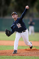 February 22, 2009:  Pitcher Matt Morrone (12) of West Virginia University during the Big East-Big Ten Challenge at Naimoli Complex in St. Petersburg, FL.  Photo by:  Mike Janes/Four Seam Images