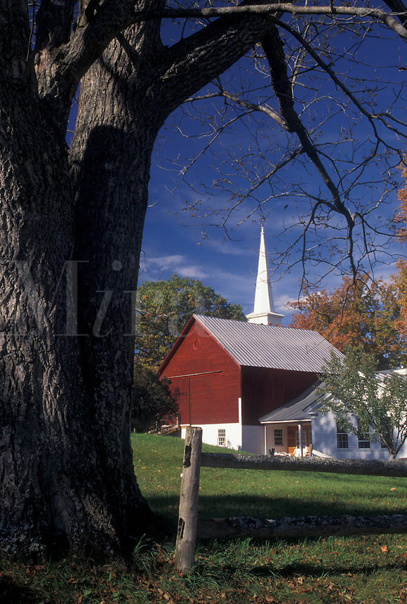 AJ4551, autumn, village, Vermont, Picturesque Peacham Village in the fall in Caledonia County in the state of Vermont.