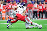 Indianapolis, IN - DEC 1, 2018: Northwestern Wildcats wide receiver Bennett Skowronek (88) avoids a Ohio State Buckeyes tackler during first half action of the Big Ten Championship game between Northwestern and Ohio State at Lucas Oil Stadium in Indianapolis, IN. (Photo by Phillip Peters/Media Images International)