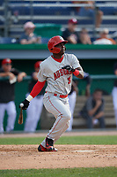 Auburn Doubledays Caldioli Sanfler (31) bats during a NY-Penn League game against the Batavia Muckdogs on June 19, 2019 at Dwyer Stadium in Batavia, New York.  Batavia defeated Auburn 5-4 in eleven innings in the completion of a game originally started on June 15th that was postponed due to inclement weather.  (Mike Janes/Four Seam Images)