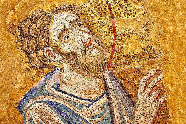 """Mosaic of St Bartholomew from """" St. Bartholomew Baptises in India"""".  Basilica San Marco ( St Mark's Basilica ) Venice, Italy"""