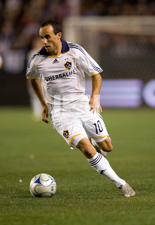 LA Galaxy forward Landon Donovan (10)moves with the ball during a MLS match. The New York Red Bulls defeated the LA Galaxy 2-1 at Home Depot Center Stadium, in Carson, Calif., on Saturday, May 10, 2008.
