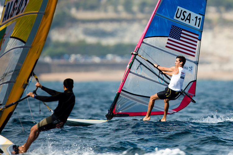 SANTANDER, SPAIN - SEPTEMBER 13:  RS:X Men - USA11 - Pedro Pascual in action during Day 2 of the 2014 ISAF Sailing World Championships on September 13, 2014 in Santander, Spain.  (Photo by MickAnderson/SAILINGPIX via Getty Images)