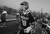HORSHAM, PA - MARCH 31: Central Bucks East's Matt Hammer #28 cheers on his team as they play Hatboro Horsham during the second half of a lacrosse game at Hatboro Horsham High School March 31, 2014 in Horsham, Pennsylvania. (Photo by William Thomas Cain/Cain Images)