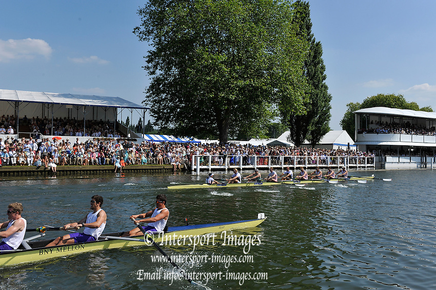 Henley on Thames. United Kingdom. Grand Challenge. Leander Club and Molesey, rowing through the Stewards Enclosure.   2013 Henley Royal Regatta, Henley Reach. 15:41:34  Sunday  07/07/2013.  [Mandatory Credit Peter Spurrier/ Intersport Images]<br /> <br /> Bow, Tom RANSLEY, Dan RITCHIE, Peter REED, Will SATCH, Mo SBIHI, Alex GREGORY, George NASH, Andy TRIGGS HODGE and Cox, Phelan HILL