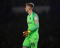 Portsmouth keeper Alex Bass during Portsmouth vs Exeter City, Leasing.com Trophy Football at Fratton Park on 18th February 2020