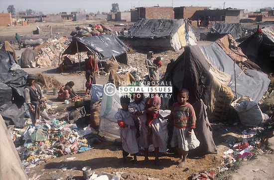 Group of young children in shanty town on outskirts of Gobindigarh; Punjab; India,