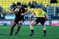Angus Ta'avao (Chiefs) runs Ricky Riccitelli at during the Super Rugby quarterfinal match between the Hurricanes and Chiefs at Westpac Stadium in Wellington, New Zealand on Friday, 20 July 2018. Photo: Dave Lintott / lintottphoto.co.nz