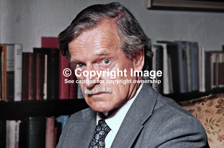 Dr Stanley Worrall, retired principal, Methodist College, Belfast, N Ireland, member, RTE Authority, participant in Protestant churchmen's Feakle meeting with the Army Council of the Provisional IRA. 1979080079SW.<br /> <br /> Copyright Image from Victor Patterson, 54 Dorchester Park, Belfast, UK, BT9 6RJ<br /> <br /> t1: +44 28 9066 1296 (from Rep of Ireland 048 9066 1296)<br /> t2: +44 28 9002 2446 (from Rep of Ireland 048 9002 2446)<br /> m: +44 7802 353836<br /> <br /> e1: victorpatterson@me.com<br /> e2: victorpatterson@gmail.com<br /> <br /> The use of my copyright images is subject to my Terms & Conditions.<br /> <br /> It is IMPORTANT that you familiarise yourself with them. They are available on my website at www.victorpatterson.com.<br /> <br /> None of my copyright images may be used on a website unless they are visibly watermarked, i.e. © Victor Patterson within the body of the visible image. Metadata denoting my copyright must NOT be deleted. <br /> <br /> Web use is extra at currently recommended NUJ rates.