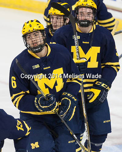 Brennan Serville (Michigan - 6), Luke Dwyer (Michigan - 29) - The Boston College Eagles defeated the visiting University of Michigan Wolverines 5-1 (EN) on Saturday, December 13, 2014, at Kelley Rink in Conte Forum in Chestnut Hill, Massachusetts.