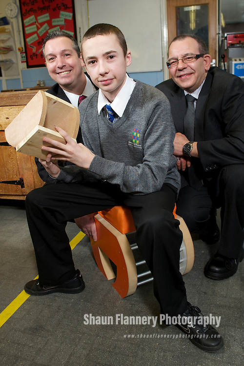 Pix: Shaun Flannery/shaunflanneryphotography.com...COPYRIGHT PICTURE>>SHAUN FLANNERY>01302-570814>>07778315553>>..16th March 2011..........Birley Manufacturing Limited..Supporting a school donation programme of wood offcuts to Handsworth Grange School, Sheffield..Dennis Spears (glasses) and Richard Mayo of Birley Manufacturing pictured with Harry Kennedy (year 11)..