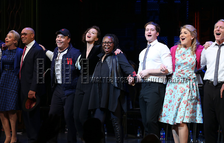 Julie Halston, Reggie Jackson, Danny Burstein, Maggie Gyllenhaal, Whoopi Goldberg, Matthew Morrison, Victoria Clark, Stephen Bogardus during the Curtain Call for the Roundabout Theatre Company presents a One-Night Benefit Concert Reading of 'Damn Yankees' at the Stephen Sondheim Theatre on December 11, 2017 in New York City.