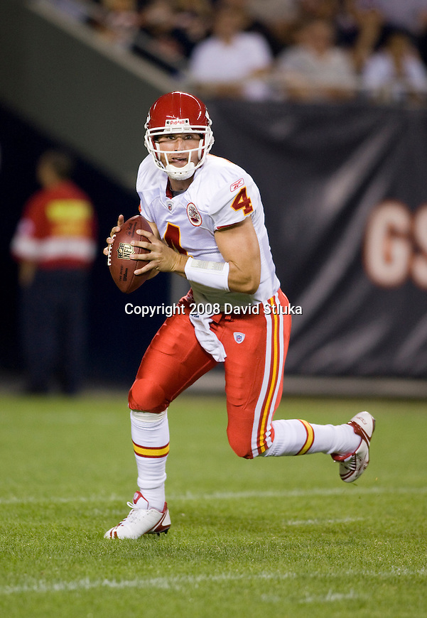 CHICAGO - AUGUST 7: Quarterback Tyler Thigpen #4 of the Kansas City Chiefs looks for a receiver against the Chicago Bears at Soldier Field on August 7, 2008 in Chicago, Illinois.. The Chiefs defeated the Bears 24-20. (AP Photo/David Stluka)