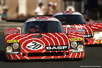 LE MANS, FRANCE: The Sauber SHS C6/Ford Cosworth of Hans Stuck, Jean-Louis Schlesser and Dieter Quester leads the team car driven by Walter Brun and Siegfried Müller Jr. during practice for the 24 Hours of Le Mans on June 20, 1982, at Circuit de la Sarthe in Le Mans, France.