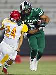 Torrance, CA 09/08/17 - Sampson Kuaea (South #5) and Nick Robledo (Hawthorne #24) in action during the Hawthorne vs South Torrance CIF-SS non-conference Varsity football game at South Torrance High School.