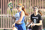 Santa Barbara, CA 02/18/12 - Lindsay Alex (UCSB #27) and Christina Scaduto (Washington #8) in action during the UCSB-Washington matchup at the 2012 Santa Barbara Shootout.  UCSB defeated Washington