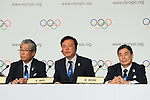 (L to R) <br /> Tsunekazu Takeda, <br />  Naoki Inose, <br /> Masato Mizuno, <br /> SEPTEMBER 7, 2013 : <br /> A press conference after Tokyo was announced as the winning city bid for the 2020 Summer Olympic Games at the 125th International Olympic Committee (IOC) session in Buenos Aires Argentina, on Saturday September 7, 2013. (Photo by YUTAKA/AFLO SPORT)