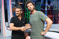 Spanish actors Damian Molla (L) and Juan Ibanez (R) during the presentation of the new season of the tv show · El Hormiguero · of Antena 3 channel. September 01, 2016. (ALTERPHOTOS/Rodrigo Jimenez) NORTEPHOTO