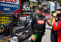 May 4, 2019; Commerce, GA, USA; NHRA top fuel driver Terry McMillen during qualifying for the Southern Nationals at Atlanta Dragway. Mandatory Credit: Mark J. Rebilas-USA TODAY Sports