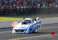 Sep 15, 2018; Mohnton, PA, USA; NHRA funny car driver Tommy Johnson Jr during qualifying for the Dodge Nationals at Maple Grove Raceway. Mandatory Credit: Mark J. Rebilas-USA TODAY Sports