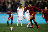Calcio, Serie A: AS Roma - Benevento, Roma, stadio Olimpico, 11 gennaio 2018.<br /> Roma's Gregoire Defrel scores kicking a penalty during the Italian Serie A football match between AS Roma and Benevento at Rome's Olympic stadium, February 11, 2018.<br /> UPDATE IMAGES PRESS/Isabella Bonotto