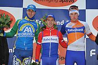 WIELRENNEN: SURHUISTERVEEN: 02-01-2014, Centrumcross, podium Heren Elite, Thijs van Amerongen, winnaar Lars van der Haar, Mike Teunissen, ©foto Martin de Jong