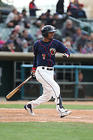 Danry Vasquez (7) of the Lancaster JetHawks bats during a game against the Modesto Nuts at The Hanger on April 25, 2015 in Lancaster, California. Lancaster defeated Modesto, 5-4. (Larry Goren/Four Seam Images)
