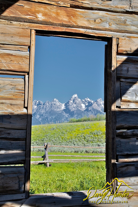 Derelict log cabin, Teton View, Window, Grand Teton National Park, Jackson Hole, Wyoming
