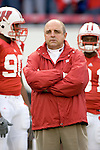 MADISON, WI - NOVEMBER 12: Head coach Barry Alvarez of the Wisconsin Badgers waits for the opening kickoff against the Iowa Hawkeyes at Camp Randall Stadium on November 12, 2005 in Madison, Wisconsin. The Hawkeyes beat the Badgers 20-10. (Photo by David Stluka)