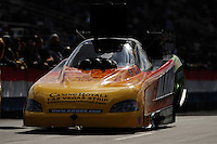 Feb. 24, 2011; Pomona, CA, USA; NHRA funny car driver Bob Bode during qualifying for the Winternationals at Auto Club Raceway at Pomona. Mandatory Credit: Mark J. Rebilas-