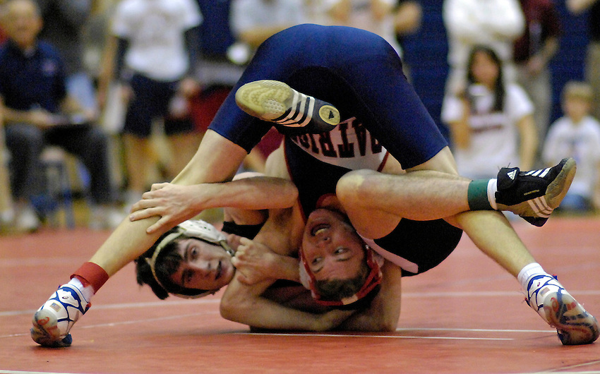 Lee Lynch from Oxford and Eric Anderson from Bob Jones wrestle in the 140 lb. final match.  Anderson won the match.  Sectional wrestling tournament at Huntsville High School.   Bob Gathany / The Huntsville Times