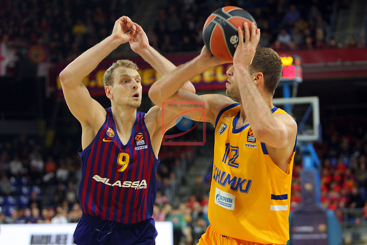 Turkish Airlines Euroleague 2018/2019. <br /> Regular Season-Round 30.<br /> FC Barcelona Lassa vs Khimki Moscow Region: 83-74. <br /> Jaka Blazic vs Sergey Monia.