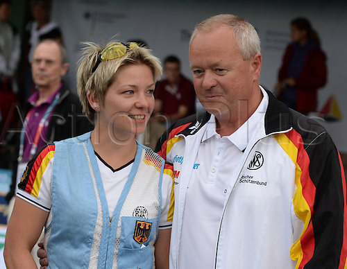 31.07.2013. Suhl, Germany.  European Championship ongoing trap shooting   Sonja Scheibl and German coach Axel Kramer ger