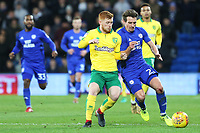 Harrison Reed of Norwich City challenges Craig Bryson of Cardiff City during the Sky Bet Championship match between Cardiff City and Norwich City at The Cardiff City Stadium, Wales, UK. Friday 01 December 2017