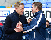 Middlesbrough manager Garry Monk &amp; Bolton Wanderers manager Phil Parkinson shake hands before kick off<br /> <br /> Photographer Juel Miah/CameraSport<br /> <br /> The EFL Sky Bet Championship - Bolton Wanderers v Middlesbrough - Saturday 9th September 2017 - Macron Stadium - Bolton<br /> <br /> World Copyright &copy; 2017 CameraSport. All rights reserved. 43 Linden Ave. Countesthorpe. Leicester. England. LE8 5PG - Tel: +44 (0) 116 277 4147 - admin@camerasport.com - www.camerasport.com