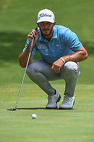 Max Homa (USA) lines up his putt on 5 during round 2 of the 2019 Charles Schwab Challenge, Colonial Country Club, Ft. Worth, Texas,  USA. 5/24/2019.<br /> Picture: Golffile   Ken Murray<br /> <br /> All photo usage must carry mandatory copyright credit (© Golffile   Ken Murray)