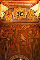 Mural by Jose Clemente Orozco in in the stairwell of Sanborns Restaurant, House of Tiles, Mexico City