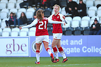 Vivianne Miedema of Arsenal scores the second goal for her team and celebrates during Arsenal Women vs Sunderland AFC Ladies, FA Women's Super League FA WSL1 Football at Meadow Park on 12th November 2017