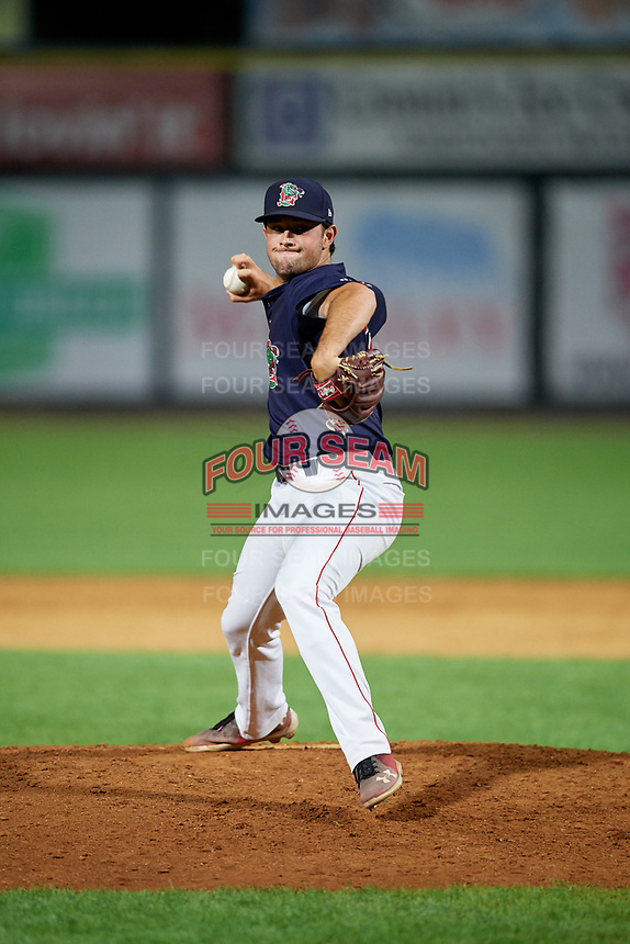 Lowell Spinners relief pitcher Kevin Biondic (48) delivers a pitch during a game against the Vermont Lake Monsters on August 25, 2018 at Edward A. LeLacheur Park in Lowell, Massachusetts.  Vermont defeated Lowell 4-3.  (Mike Janes/Four Seam Images)
