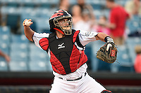 Nashville Sounds catcher Matt Pagnozzi (10) throws down to second during a game against the Omaha Storm Chasers on May 19, 2014 at Herschel Greer Stadium in Nashville, Tennessee.  Nashville defeated Omaha 5-4.  (Mike Janes/Four Seam Images)