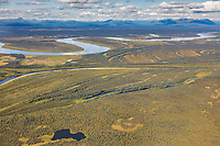 Aerial view of the Kobuk River, Arctic, Alaska.
