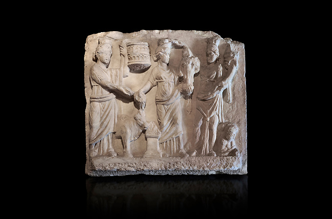 Roman relief sculpture of the Coronation of Hierapolis. Roman 2nd century AD, Hierapolis Theatre.. Hierapolis Archaeology Museum, Turkey . Against an black background