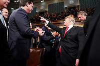 FEBRUARY 5, 2019 - WASHINGTON, DC: President Donald Trump arrived in the House chamber before delivering the State of the Union address at the Capitol in Washington, DC on February 5, 2019. <br /> Credit: Doug Mills / Pool, via CNP /MediaPunchCAP/MPI/RS<br /> &copy;RS/MPI/Capital Pictures