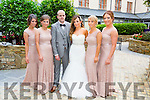 David Hurley, and Christina Gray celebrating at an after party at Fels Point Hotel on Saturday  they were married in Las Vegas on 22nd of September 2015 Pictured .l-r Tanya O'Sullivan, Sarah Tansley, David Hurley, Christina Gray, Sinead McMahon, Tara Dore.