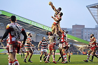 Ed Slater of Leicester Tigers wins the ball at a lineout. Aviva Premiership match, between Leicester Tigers and Gloucester Rugby on February 11, 2017 at Welford Road in Leicester, England. Photo by: Patrick Khachfe / JMP