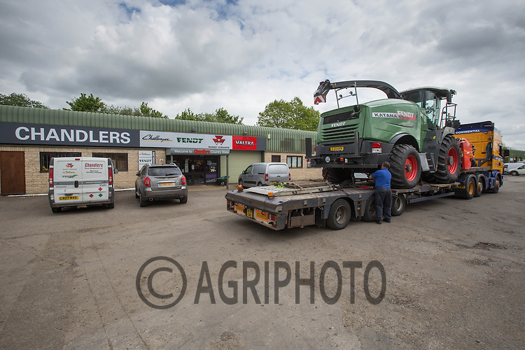 The first Fendt Katana 65 to be sold in the UK arrives at Chandlers Farm Equipment at Barnack,Stamford,Lincolnshire.<br /> Picture Tim Scrivener 07850 303986