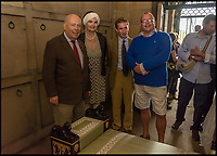 BNPS.co.uk (01202 558833)<br /> Pic: AlexanderBagnall/BNPS<br /> <br /> Lord and Lady Fellowes attend its grand re-opening.<br /> <br /> Back from the dead - Before and after photos show how a 19th century mausoleum was brought back from the underworld thanks to a life saving restoration. <br /> <br /> Hope Mausoleum in Dorking, Surrey, was erected as a stately tomb in 1818 but 60 years ago it fell into disrepair and became buried by soil. <br /> <br /> However, following the recent completion of an extensive restoration the Grade II listed building has been returned to its former glory. <br /> <br /> Proprietors Mole Valley District Council spearheaded the project after employee Alex Bagnall discovered the tip of the building while investigating the surrounding area. <br /> <br /> After securing a &pound;1m grant from the heritage lottery fund the project began, with architects, stonemasons, ground workers and volunteers all descending on the historic plot.