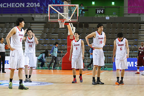 Japan team group (JPN), <br /> SEPTEMBER 25, 2014 - Basketball : <br /> Men's Preliminary <br /> between Japan 71-72 Qatar <br /> at Samsan World Gymnasium <br /> during the 2014 Incheon Asian Games in Incheon, South Korea. <br /> (Photo by AFLO SPORT)