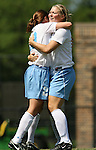 North Carolina's Heather O'Reilly (l) is huggec by teammate Elizabeth Guess (r) after scoring the games only goal on Sunday September 17th, 2006 at Koskinen Stadium on the campus of the Duke University in Durham, North Carolina. The University of North Carolina Tarheels defeated the University of Florida Gators 1-0 in an NCAA Division I Women's Soccer game.
